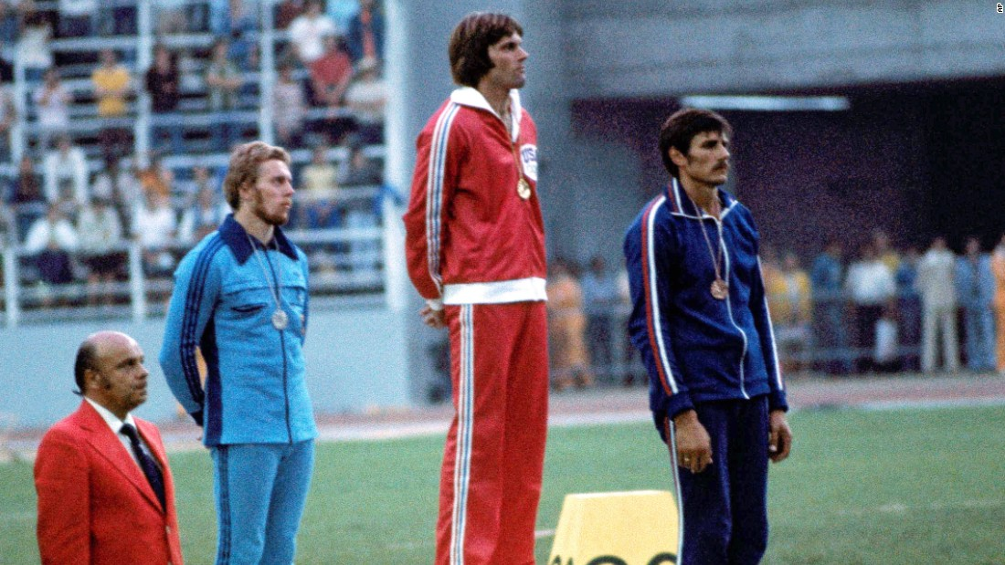 Jenner receives an Olympic gold medal on July 30, 1976.