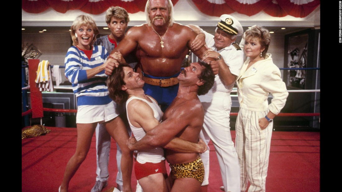 "Jenner, lower left, appears in a 1986 episode of ""Love Boat"" featuring Hulk Hogan and Tim Rossovich."