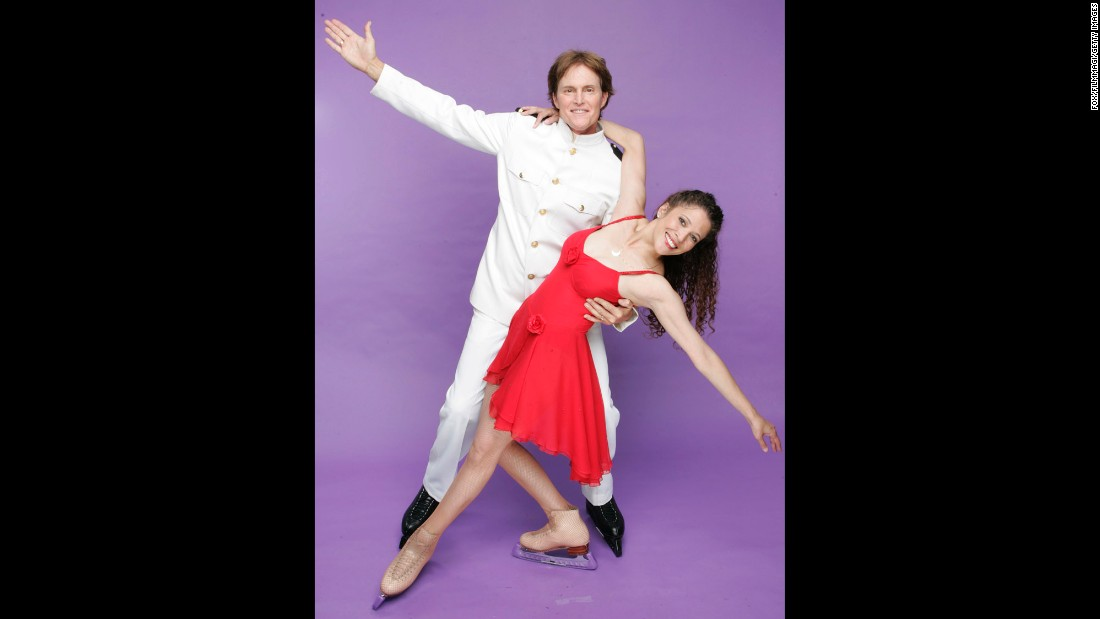 "Jenner and Tai Babilonia are seen in a publicity photo for ""Skating With Celebrities"" in 2006."