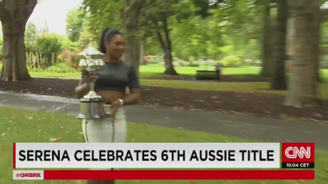 Serena Williams celebrates Australian Open win