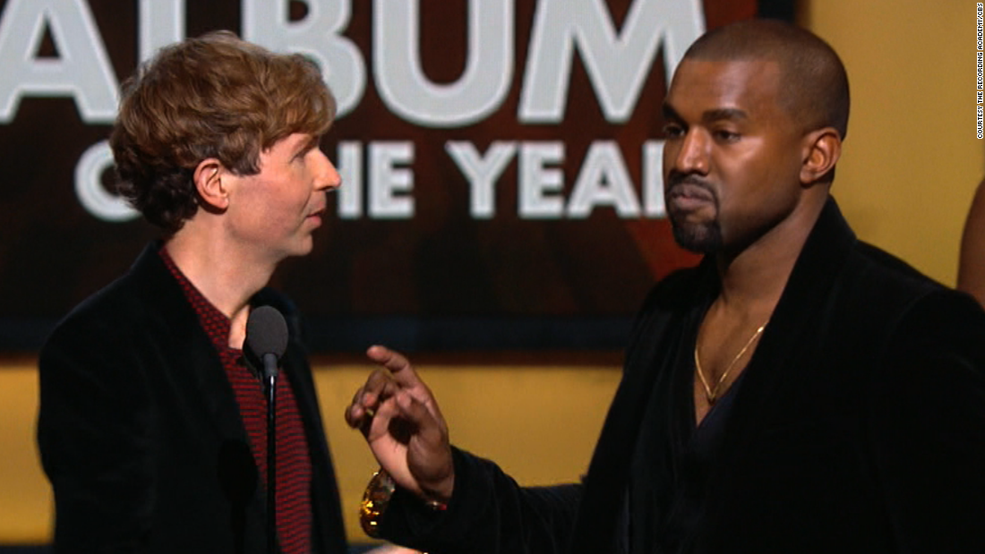 "<strong>February 2015:</strong> In 2009, West interrupted Taylor Swift's speech at the MTV Video Music Awards to say that her video didn't deserve an award. When he approached the stage at the Grammys in February to interrupt Beck, it seemed like a joke -- but no, Kanye wasn't joking. <a href=""http://www.cnn.com/2015/02/27/entertainment/kanye-west-apology/"">He later apologized</a>."