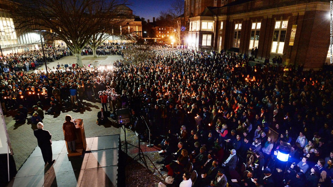 University Chancellor Carol Folt addresses mourners gathered on campus February 11.