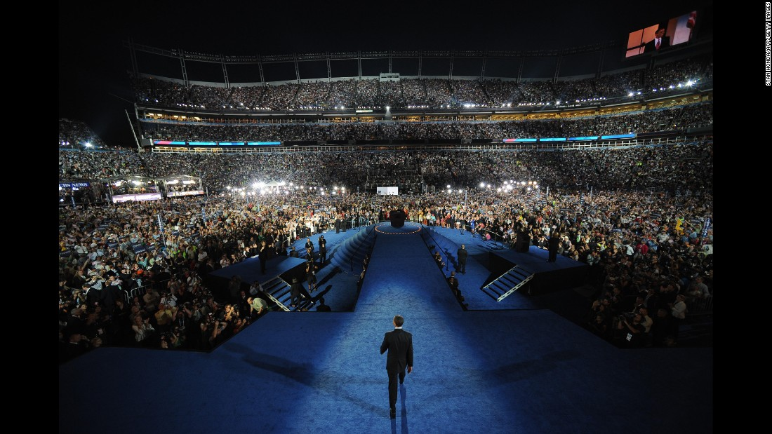 Obama speaks at the 2008 Democratic National Convention in Denver, Colorado.