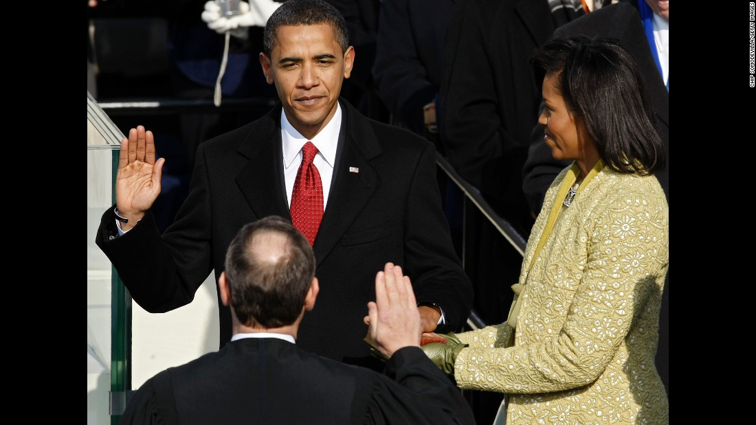 Obama is sworn in by Chief Justice John Roberts as the 44th President of the United States on the West Front of the Capitol in Washington on January 20, 2009.