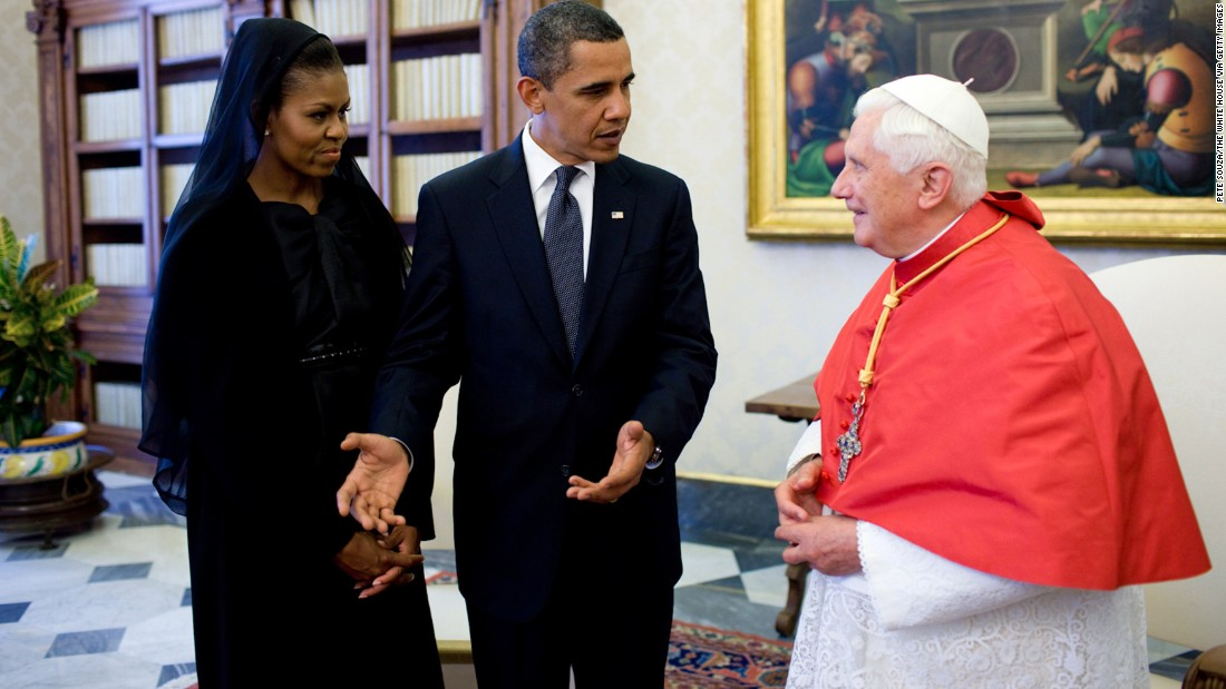 Obama and first lady Michelle Obama meet with Pope Benedict XVI in Vatican City in July 2009.