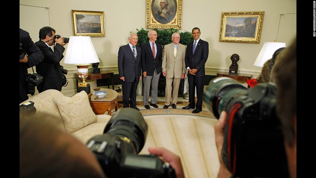 "Obama hosts the Apollo 11 astronauts, from left to right, Edwin ""Buzz"" Aldrin, Michael Collins and Neil Armstrong in the Oval Office on July 20, 2009, the 40th anniversary of the moon landing."