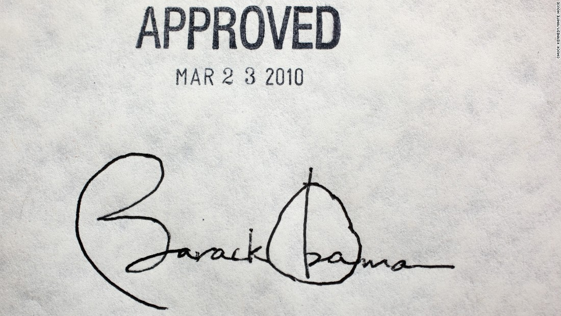 Obama's signature on the Affordable Healthcare Act is seen at the White House in March 2010.