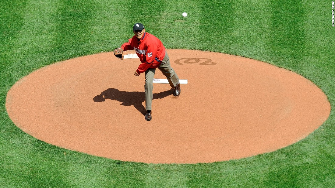 Obama throws out the opening pitch before a baseball game between the Philadelphia Phillies and the Washington Nationals on Opening Day at Nationals Park in Washington in April 2010.