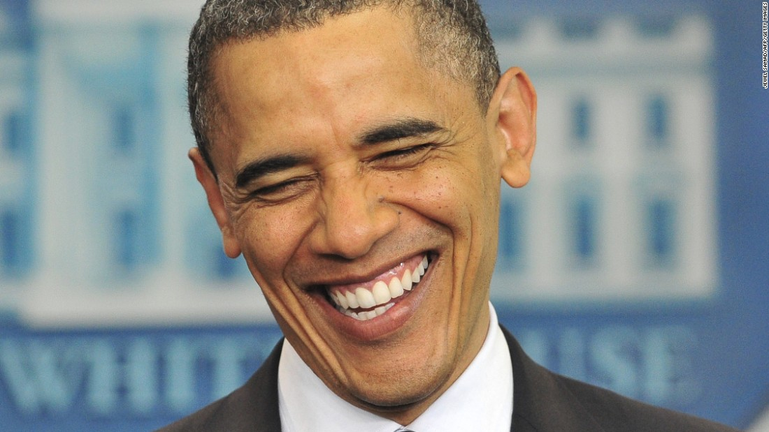"Obama laughs as he makes a statement on his birth certificate in April 2011. Obama said he was amused over conspiracy theories about his birthplace, and said the media's obsession with the ""sideshow"" issue was a distraction in a ""serious time."""