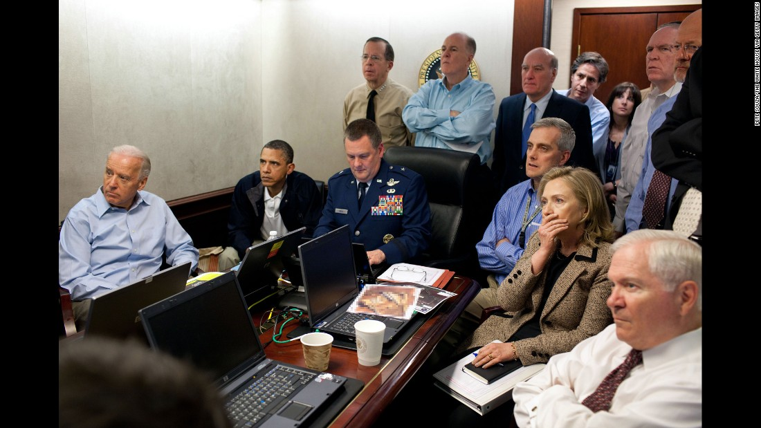 Obama, Biden, Secretary of State Hillary Clinton and members of the national security team receive live updates in the Situation Room of the White House on the mission to capture or kill Osama bin Laden on May 1, 2011.