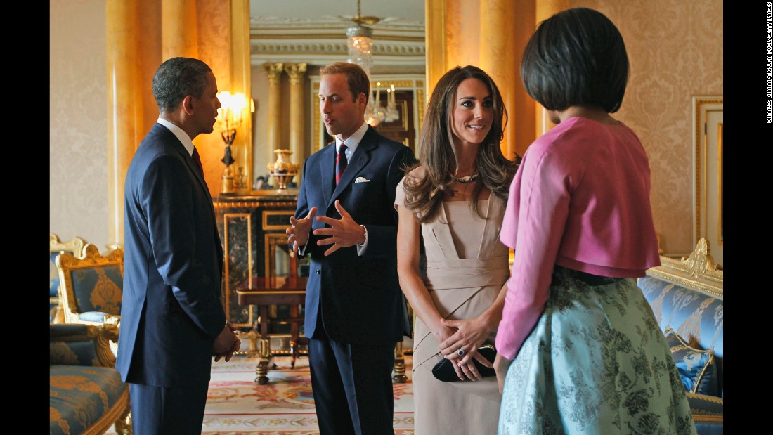 Obama, left, and first lady Michelle Obama, right, meet with Prince William, Duke of Cambridge and Catherine, Duchess of Cambridge, at Buckingham Palace in London in May 2011.