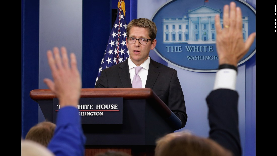 White House press secretary Jay Carney fields questions from reporters during a daily press briefing at the White House in September 2013 after Obama's push for Congressional approval for limited military strikes against the Syrian government.