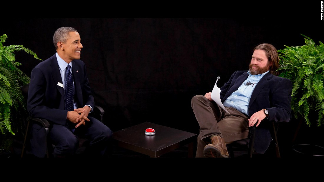 "Actor and comedian Zach Galifianakis interviews Obama during his appearance on ""Between Two Ferns,"" a digital video series with a laser focus on reaching people aged 18 to 34. The President urged young people to sign up for the new health care plan in the video posted on the website Funny or Die."