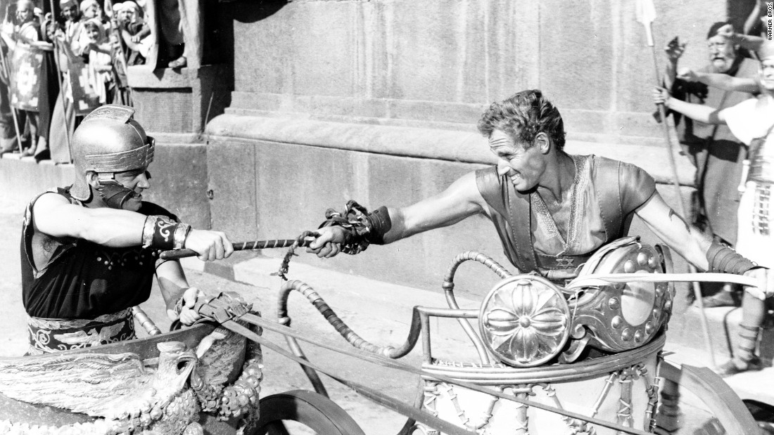 "Biblical epics were all the rage in the 1950s, and none more so than William Wyler's ""Ben-Hur."" The movie won a then-record 11 Academy Awards, including best picture, director (Wyler) and actor (Charlton Heston, right). The chariot scene undoubtedly helped ensure <a href=""http://www.afi.com/10top10/epic.html"" target=""_blank"">""Ben-Hur's"" No. 2 ranking on the American Film Institute's list </a>of greatest epics."