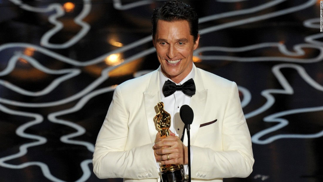 "Matthew McConaughey won the Oscar for his role in ""Dallas Buyers Club"" as Ron Woodroof, an HIV-positive man who smuggles drugs to AIDS patients. Co-star Jared Leto was named best supporting actor."