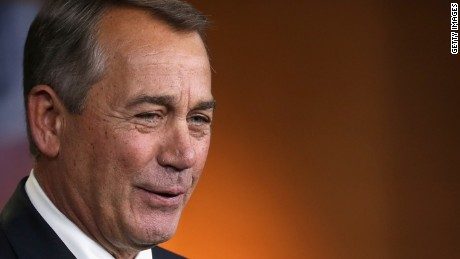 WASHINGTON, DC - FEBRUARY 12: Speaker of the House John Boehner (R-OH) holds his weekly news conference in the Capitol Visitors Center at the U.S. Captiol February 12, 2015 in Washington, DC. Boehner said that President Barack Obama#39;s request for the autorization of the use of military force against the terrorist group calling itself the Islamic State does not go far enough in outlining a path for war against gobal terrorism. (Photo by Chip Somodevilla/Getty Images)