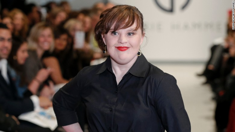 Actress Jamie Brewer walked the runway in the Mercedes-Benz Fashion Week in 2015.