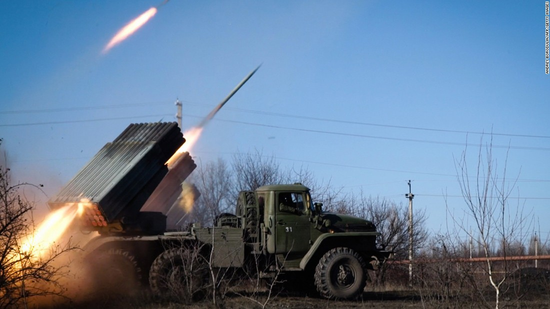 "Pro-Russian rebels stationed in the eastern Ukrainian city of Gorlivka, Donetsk region, launch missiles from a Grad launch vehicle toward a position of the Ukrainian forces in Debaltseve on February 13. <a href=""http://cnn.com/2015/02/13/europe/ukraine-conflict/"">Ukraine President Petro Poroshenko said </a>the  ceasefire that was due to go into effect is in ""big danger."""