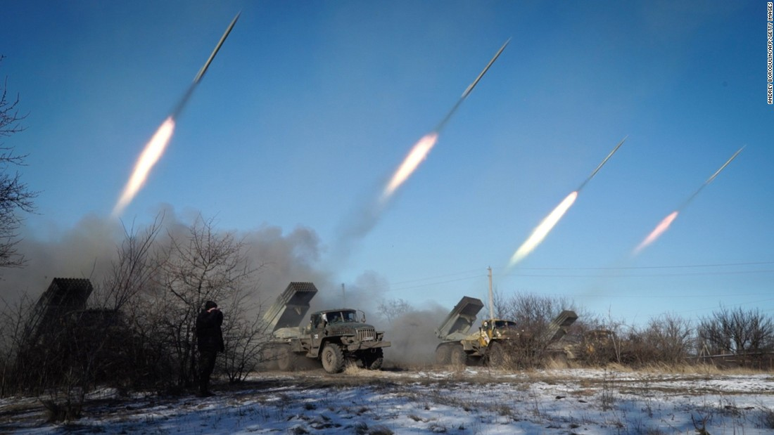 Pro-Russian rebels stationed in Horlivka launch missiles on Wednesday, February 18.