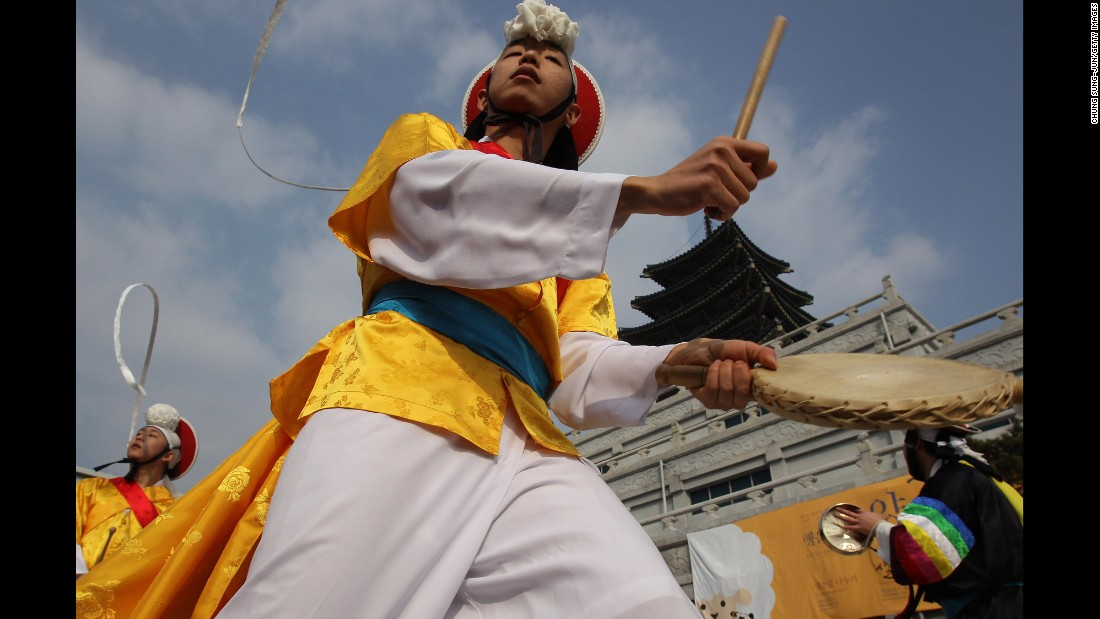 People celebrate the Lunar New Year at the Gyeongbokgung Palace in Seoul, South Korea, on February 19.