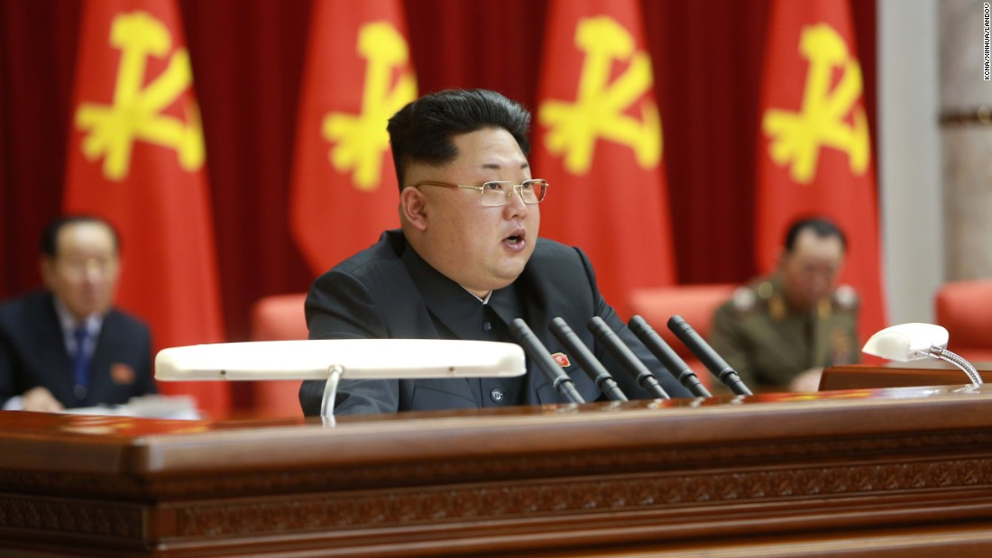 North Korean leader Kim Jong Un speaks during a meeting of the Political Bureau of the Central Committee of the Workers' Party of Korea in Pyongyang, North Korea, in this photo released February 19 by the state-run Korean Central News Agency.