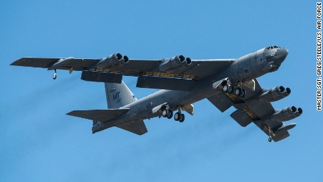"""A B-52H Stratofortress takes off after being taken out of long term storage Feb. 13, 2015, at Davis-Monthan Air Force Base, Ariz. The aircraft was decommissioned in 2008 and has spent the last seven years sitting in the """"Boneyard,"""" but was selected to be returned to active status and will eventually rejoin the B-52 fleet. The B-52 was flown by the 309th Aerospace Maintenance and Regeneration Group. (U.S. Air Force photo/Master Sgt. Greg Steele/U.S. Air Force)"""