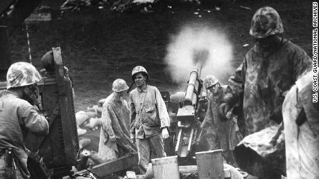Iwo Jima battle scene
