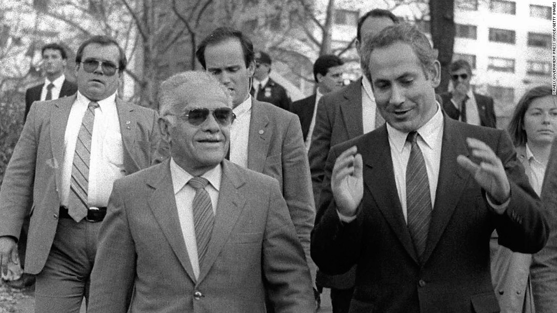 Netanyahu talks to Israeli Prime Minister Yitzhak Shamir on a stroll in New York's Central Park in November 1987.