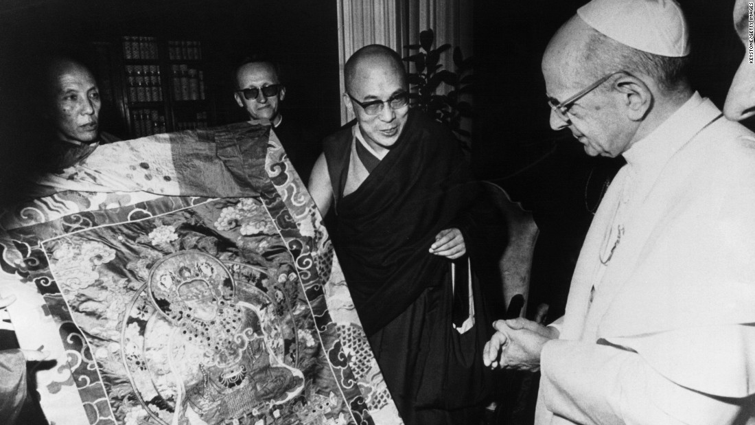 In 1973, the Dalai Lama meets with Pope Paul VI at the Vatican, the first-ever meeting of a pope and a spiritual leader of Tibetan Buddhists. In 1977, the Chinese government makes the Dalai Lama a conditional offer, the opportunity to return to Tibet after acceptance of Chinese rule over Tibet. The offer is rejected.