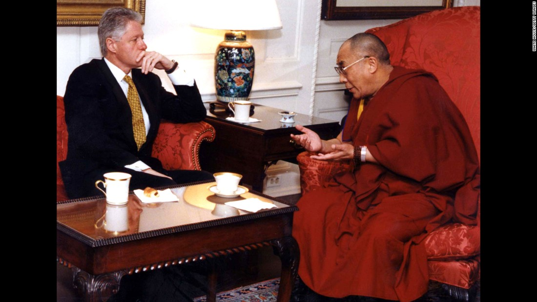 U.S. President Bill Clinton meets with the Dalai Lama at the White House in 1998. The Dalai Lama requested assistance in opening official negotiations with China regarding the future of Tibet.