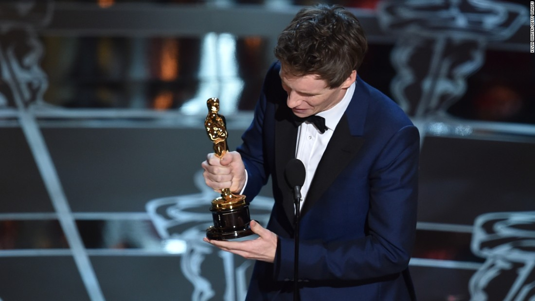 "Eddie Redmayne wins best actor for his performance as Stephen Hawking in ""The Theory of Everything"" at the 87th Academy Awards on Sunday, February 22."