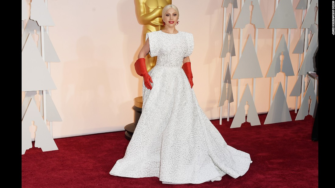 "Lady Gaga<a href=""http://www.cnn.com/2015/02/23/entertainment/feat-oscars-2015-funny-memes/index.html""> set social media afire </a>with her look on the 87th Annual Academy Awards red carpet. It's just one of her many amazing fashion displays. Click through for more."