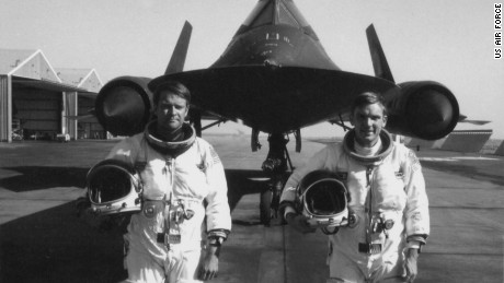 "In 1976, reconnaissance officer George Morgan, left, and pilot Eldon ""Al"" Joersz set the world aviation speed record in an Air Force SR-71 Blackbird spy jet. Their record -- 2,193 mph -- still stands."