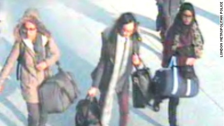 UK police appealed for help Friday, Feb. 20, 2015, to find three teenage girls who are missing from their homes in London and are believed to be making their way to Syria. The girls, two of them 15 and one 16, have not been seen since Tuesday, Feb. 17, 2015, when, police say, they took a flight to Istanbul. One has been named as Shamima Begum, 15, who may be traveling under the name of 17-year-old Aklima Begum, and a second as Kadiza Sultana, 16. The third girl is identified as Amira Abase, 15.