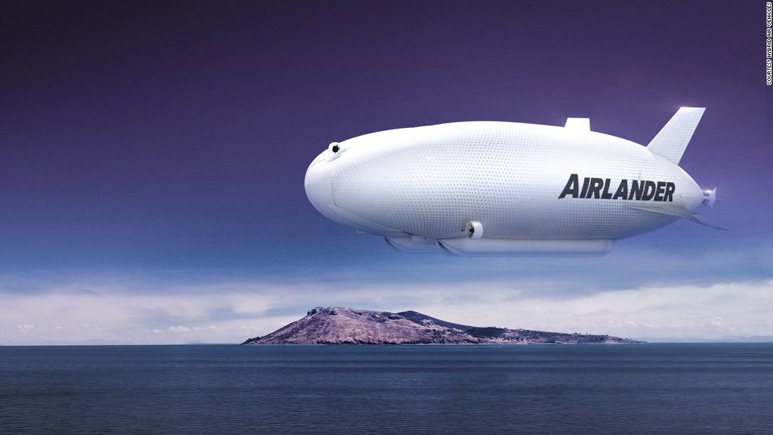 The lightweight airship, seen here in a concept illustration, can carry up to 10 tons and stay in the air for five days continuously.