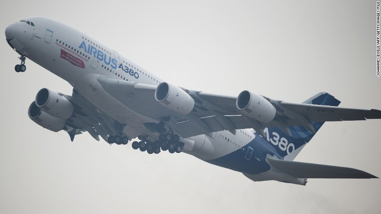 An Airbus A380 plane performs at the Airshow China 2014.
