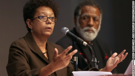 Image #: 35203162    Dori J. Maynard of the Robert C. Maynard Institute for Journalism Education, left, speaks during a forum at Preservation Park's Nile Hall in Oakland, Calif., on Thursday, July 18, 2013. To the right is Arnold Perkins, of the Alameda County Public Health Department. The Oakland Tribune and the Maynard Institute held the free public forum to discuss coverage of the Zimmerman trial and how media images impact perception. (Jane Tyska/Bay Area News Group/San Jose Mercury News/TNS/LANDOV