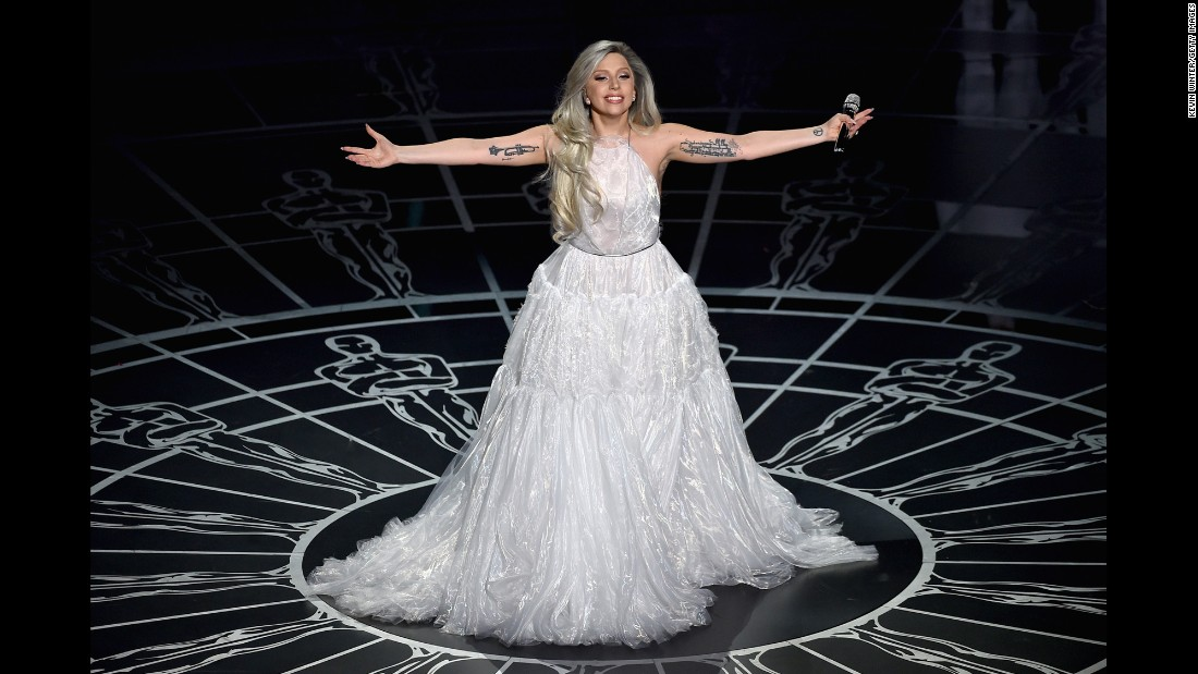 The singer donned a more sedate, floaty white ensemble for her performance at the 87th Annual Academy Awards held in February in Hollywood.