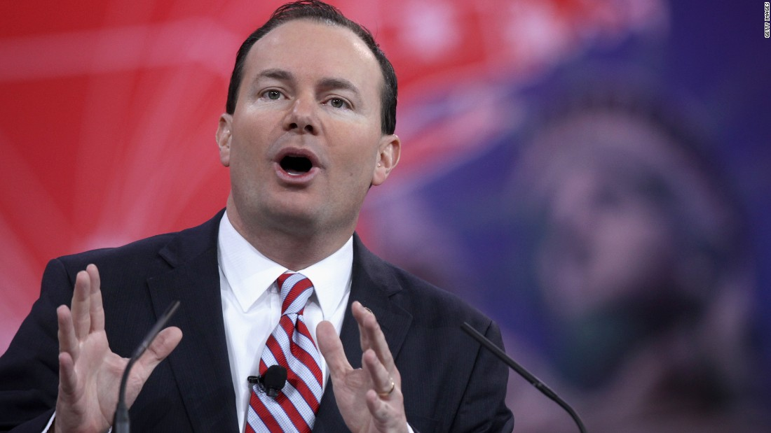 Utah's Mike Lee addresses the conference on Thursday.