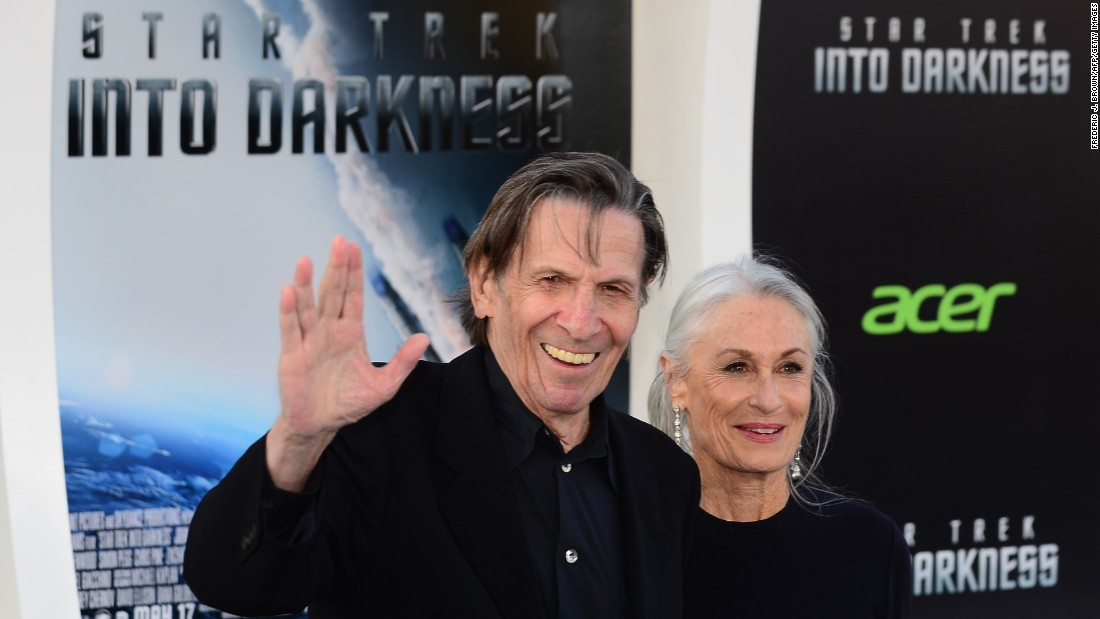 "Nimoy arrives with his wife, Susan Bay Nimoy, for the Los Angeles premiere of the movie ""Star Trek Into Darkness"" in 2013."