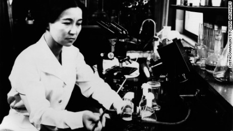"90-105, 9B, Portraits Hir; ""Biochemist and bacteriologist Ruby Hirose researched serums and antitoxins at the William S. Merrell Laboratories.  In 1940, Hirose was among ten women recognized by the American Chemical Society for accomplishments in chemistry, and later made major cont"""