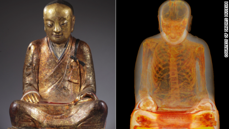 A CT scan reveals a 1000-year-old skeleton in meditation hidden inside a golden statue of a sitting Buddha.
