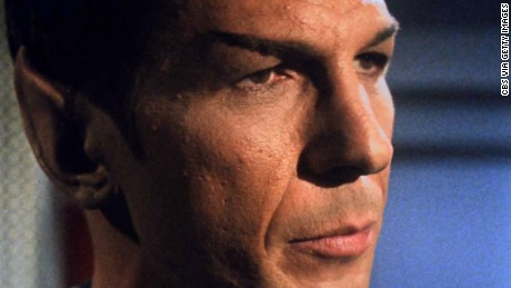 """LOS ANGELES - OCTOBER 20: Leonard Nimoy as Mr. Spock in the STAR TREK: THE ORIGINAL SERIES episode, """"What Are Little Girls Made Of?""""  Season 1, episode 7.  Original air date, October 20, 1966.  Image is a frame grab. (Photo by CBS via Getty Images) *** Local Caption *** Leonard Nimoy"""