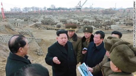 This undated picture released from North Korea's official Korean Central News Agency (KCNA) on February 27, 2015 shows North Korean leader Kim Jong-Un inspecting the construction site of the science and technology complex in Pyongyang. AFP PHOTO / KCNA via KNS REPUBLIC OF KOREA OUT
