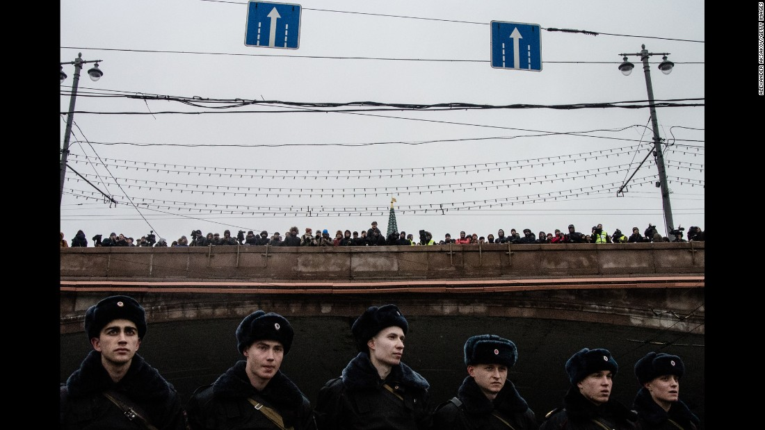 Marchers gather in central Moscow on March 1.