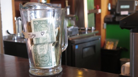 Tip jar at cafe in Portland, Oregon, March 2, 2015