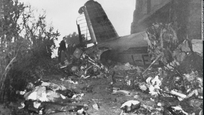 The wreckage of the airplane which crashed into the Superga hillside in 1949.