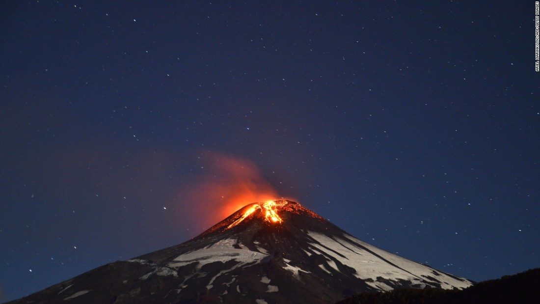 Villarrica, a Chilean volcano, began erupting in March 2015. The volcano is one of Chile's most active.
