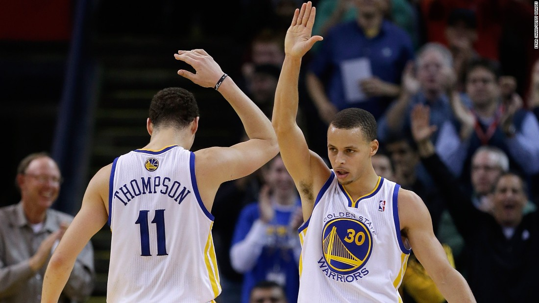 NBA All-Star teammates Curry (right) and Klay Thompson of the Golden State Warriors both played at unheralded college programs. Curry's Davidson has an undergraduate enrollment of 1,850 while Thompson went to Washington State.