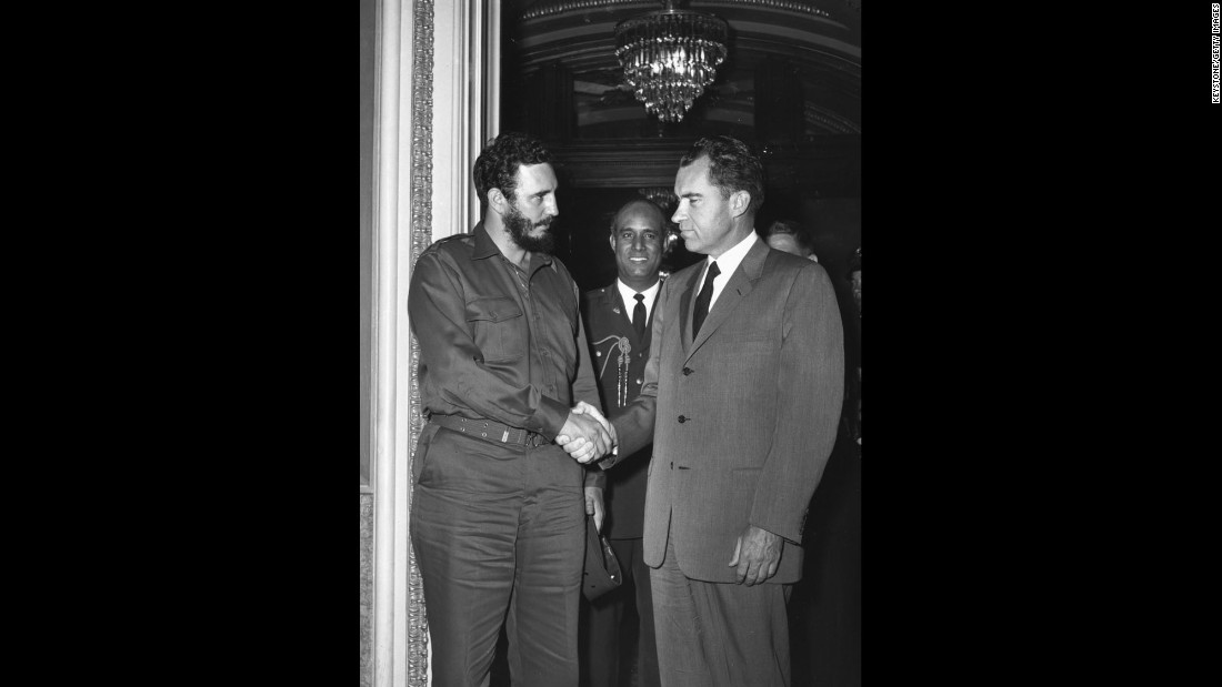Castro shakes hands with U.S. Vice President Richard Nixon during a reception in Washington in 1959.